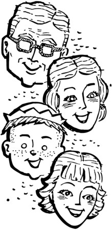 the proud: Family Of Four Illustration