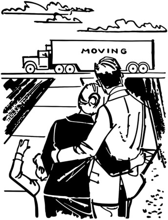 family van: Family Watching Moving Van