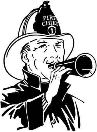 chiefs: Fireman With Bullhorn Illustration