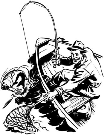 man fishing: Pescador captura de peces