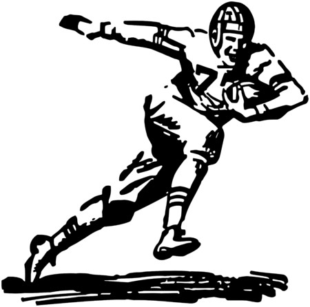 Football Player Running With Ball Vector