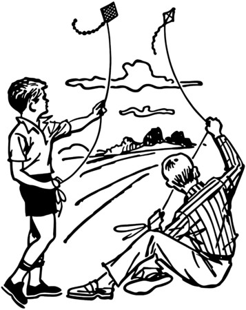 americana: Boys Flying Kites Illustration