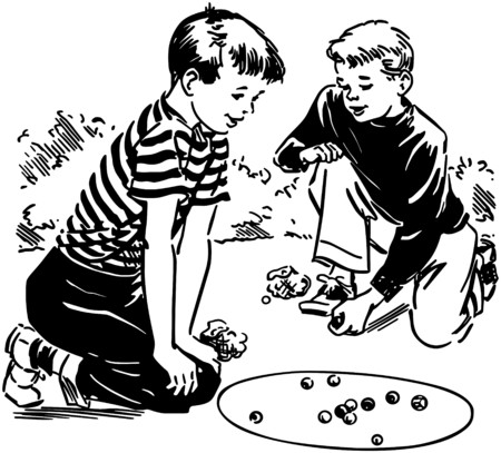 Boys Playing Marbles Ilustrace