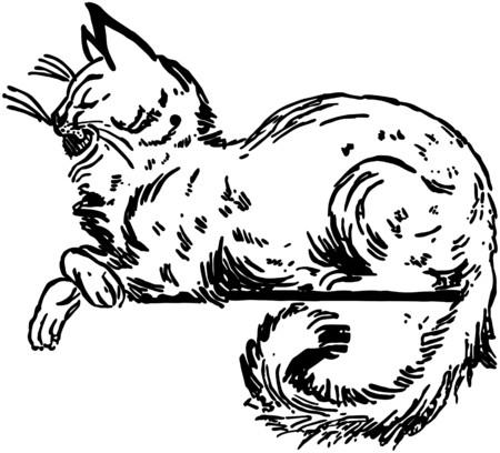 ledge: Cat Sitting On Ledge Illustration
