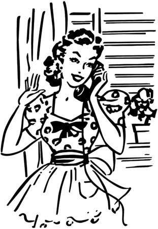 blabbing: Chatting On The Phone Illustration
