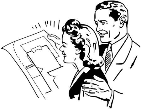 homeowners: Checking Floorplans Illustration