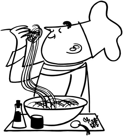 Chef Testing Noodles Vector