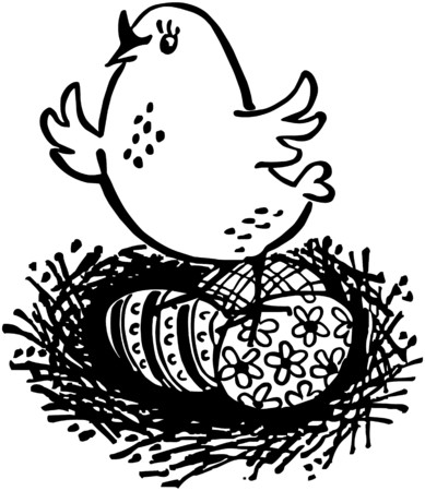 tweeting: Chick With Easter Eggs