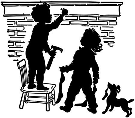 mantles: Children Hanging Stockings