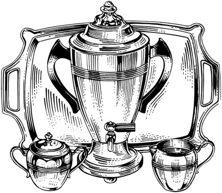 urns: Coffee Urn And Accessories Illustration