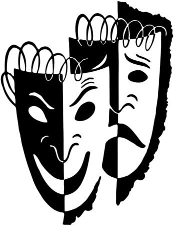 Comedia Drama Máscara Ilustración de vector