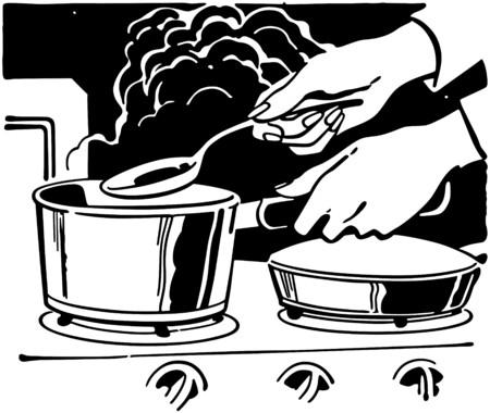 stirring: Cooking Dinner Illustration