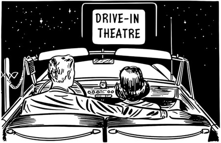 Couple At Drive-In Theatre Vector