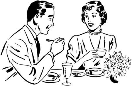 Couple Dining Vectores