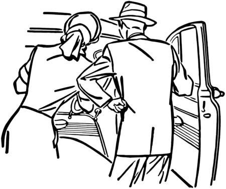 dealerships: Couple Examining New Car Illustration