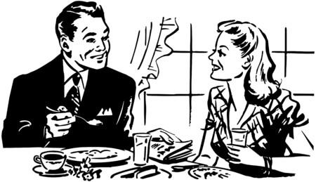 Couple Having Breakfast Illustration