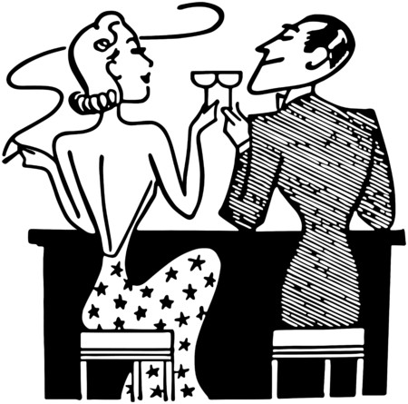 women smoking: Couple Having Cocktails In Club Illustration
