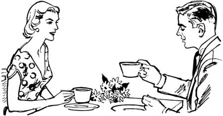 woman drinking tea: Couple Having Tea Illustration