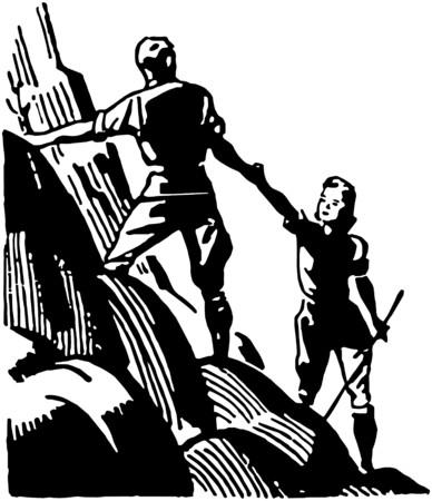 Couple Mountain Climbing Illustration