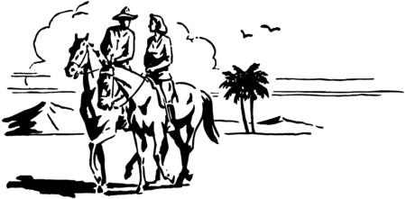 trotting: Couple On Horseback Illustration