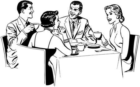 Couples Dining Stock Illustratie