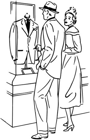 Couple Shopping For A Suit Vector