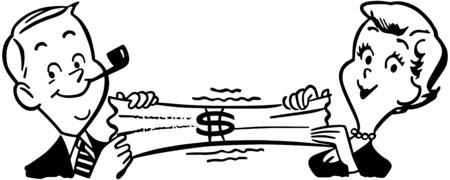 Couples étirant Dollar Banque d'images - 28334558