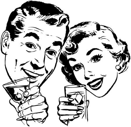 vintage lady: Paar Met Cocktails