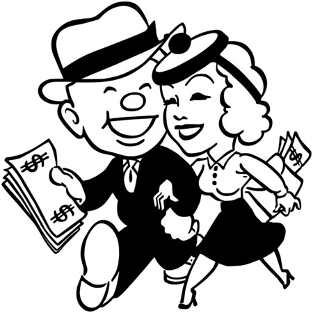 wealthy man: Couple With Money Illustration
