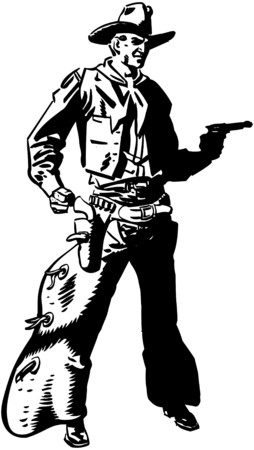 Cowboy Drawing Pistol Vector