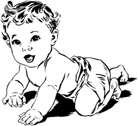 bebe gateando: Rastreo bebé Vectores