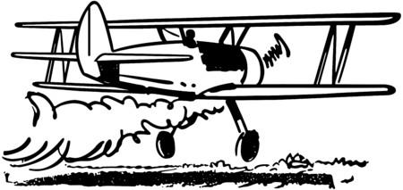Crop Dusting Biplane Vector