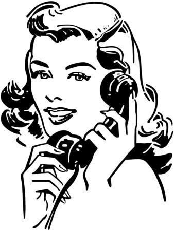 レトロ: 携帯電話上でかわいいギャル  イラスト・ベクター素材