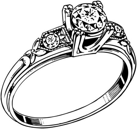 diamond clip art: Diamond Ring 2 Illustration