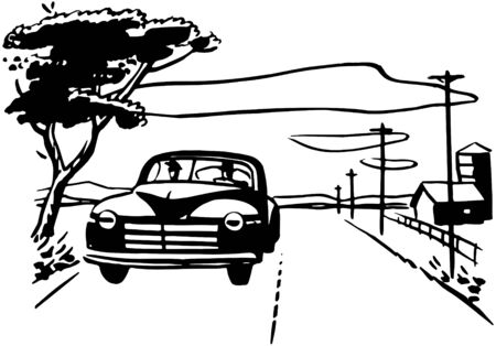 rural road: Driving On Country Road Illustration