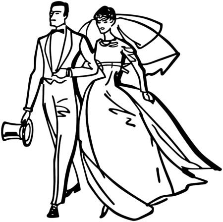 Elegant Bride And Groom Иллюстрация