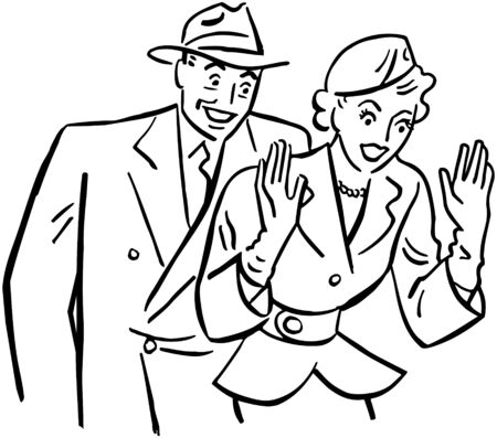 40s: Excited Couple Illustration