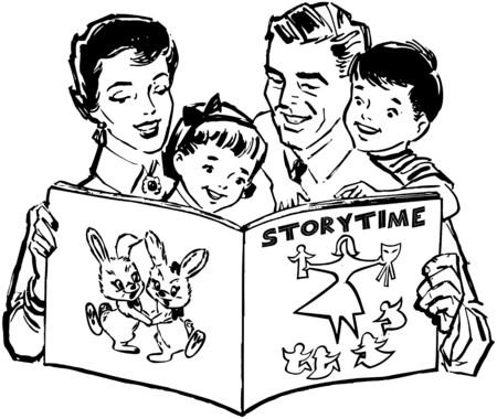 Family Reading Book Vector