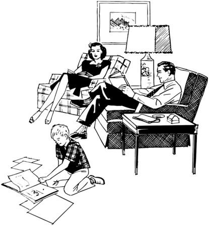 Ontspannen van de familie in woonkamer Stockfoto - 28336173