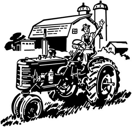 Farmer On Tractor Waving