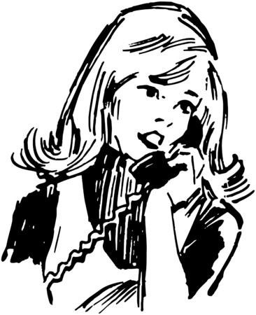 Gal On The Phone Vector