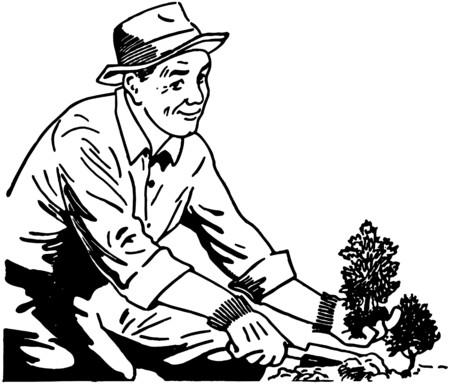 sembrando un arbol: Jardinero Vectores