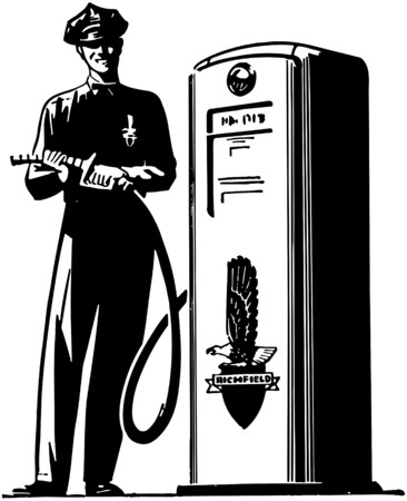 gas pump: Gas Pump Attendant Illustration