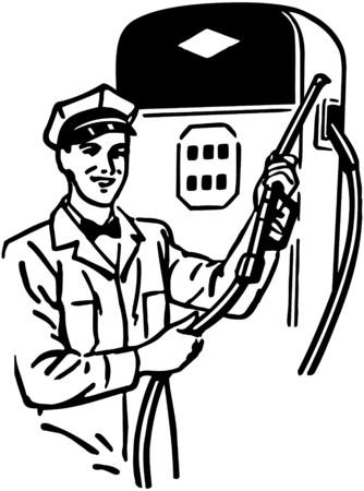 refills: Gas Station Attendant Illustration