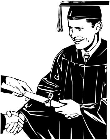 graduation gown: Grad Receiving Diploma