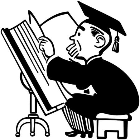 Grad Studying Big Book Vector