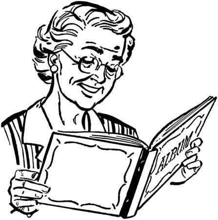 Grandma With Photo Album Illustration