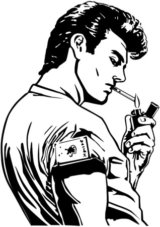 tough man: Greaser Lighting Cigarette