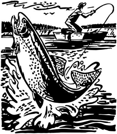 Fisherman Reeling In Trout