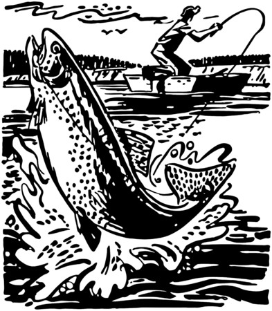 Fisherman Reeling In Trout Vector